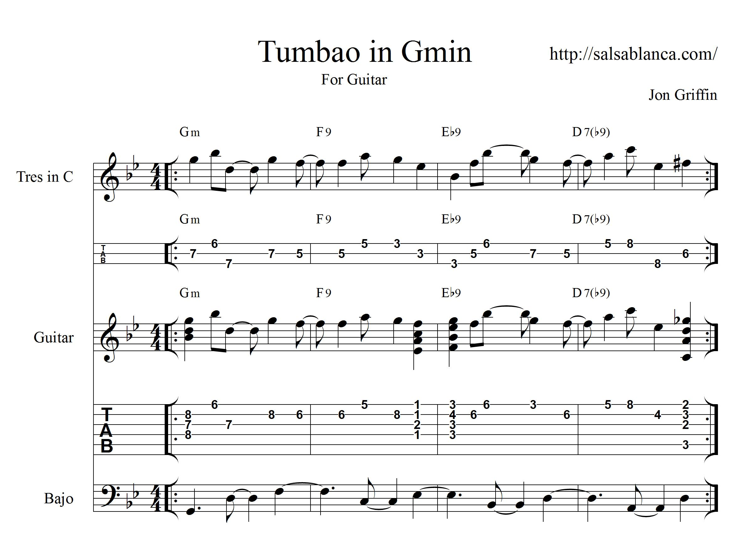 Tumbao in G minor for Cuban tres and guitar